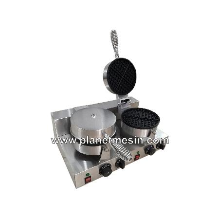 mesin waffle bulat 2 cetakan